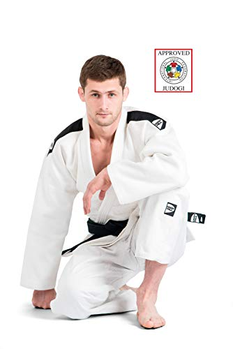 Green hill judogi professional ijf approved judo bianco gi white kimono unisex (banda sulle spalle nera, 160 slim fit)