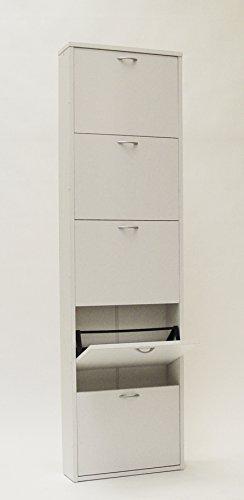 Valdomo small 5 scarpiera a 5 ante, legno, bianco, 50x17x180 cm