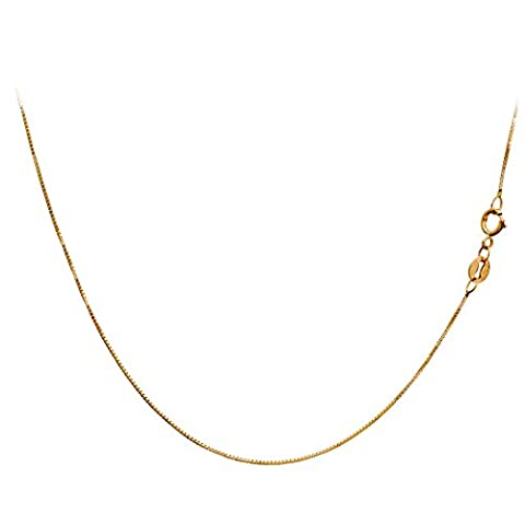 14K Yellow Gold Box Venetian Chain Very Thin 0.45mm 16