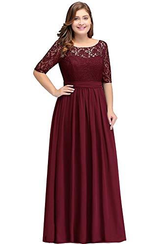 MisShow Damen Abendkleider Maxilang Frauen Plus Size Kleid Abend Cocktailkleider Lange Maxi-Kleid Weinrot 20W
