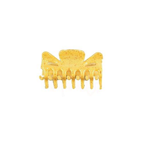Pince Crabe A Cheveux - Plastique 6 cm - Jaune Moucheté - Accessoire Coiffure