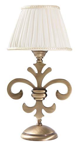 Premium Tischleuchte aus Messing bronziert Weiß Jugendstil E14 bis 40W 230V Stoff gewebt Nachttischleuchte Schlafzimmer Wohnzimmer Lampe Leuchte innen Tischlampe