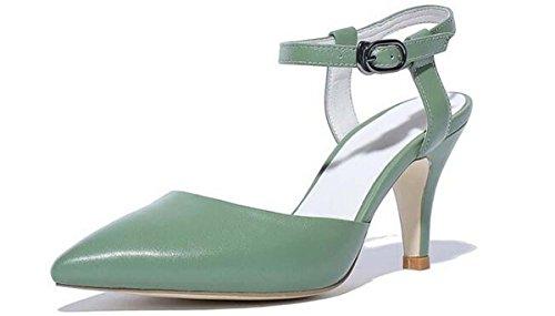 Beauqueen Pumps Sandalen Sommer Mädchen Frauen Einfache Spitz-Zehe Low Heels Elegante Casual Schuhe Schwarz Cyan Europa Standard Größe 34-39 cyan