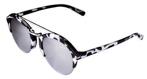 Ohne Marke / Generic - Sonnenbrille Sunglasses Frauen Männer Clubmaster Gestell Weiß Schwarz Getupft Lenti A Spiegel
