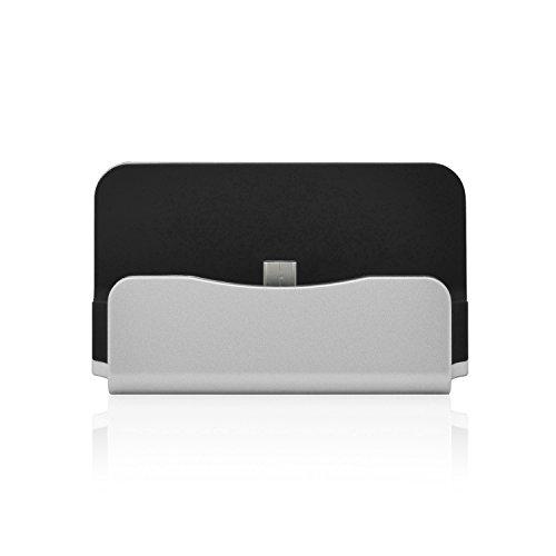 iProtect Premium USB TYP-C USB 3.1 Docking Station Ladestation für Samsung Galaxy S8, Note 8 und weitere Geräte mit einem 3.1 USB-C Anschluss in silber