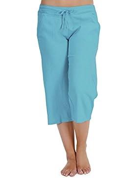 MUJER 100% Forrado Algodón Verano 3/4 tres cuartos largo corto pantalones pantalones de chándal Atado a la cintura...