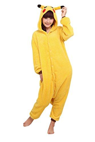 MissFox Kigurumi Pyjama Erwachsene Anime Cosplay Halloween Kostüm Kleidung Pikachu (Kostüm Amazon Kigurumi)