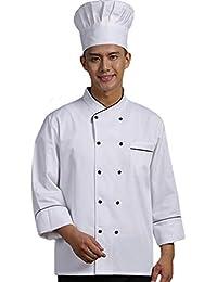 Dooxii Unisex Donna Uomo Autunno Inverno Manica Lunga Giacca da Chef  Professionale Torta di Cottura Mensa Hotel… 2f2b1f241df9