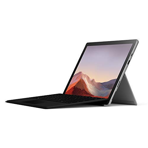 Microsoft Surface Pro 7, 12,3 Zoll 2-in-1 Tablet (Intel Core i5, 16GB RAM, 256GB SSD, Win 10 Home) Platin Grau + Surface Pro Type Cover mit Fingerprint ID (QWERTZ Keyboard) schwarz