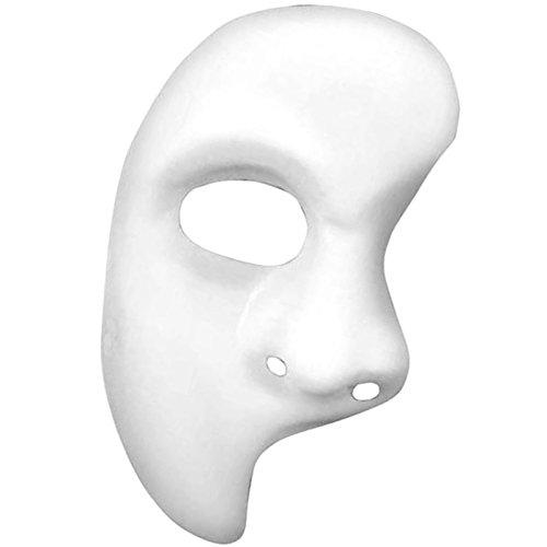 German Trendseller® - Neutrale Gesichts Halb Maske ┃ Phantom ┃ Edel Weiß ┃ Linke Gesichtshälfte ┃ Karneval / (Mann Halb Kostüm Frau)