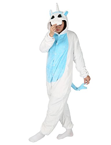 Kostüme Tier Lustige (Tier Pyjama Einhorn Kostüm Karton Tierkostüme Jumpsuit Erwachsene Schlafanzug Unisex)