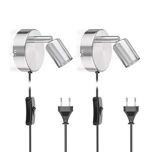 Zwei Licht-wand-strahler (ledscom.de Leseleuchte LUNARA mit Schalter und Stecker Chrom matt GU10 Wand-Leuchte, 2 STK.)