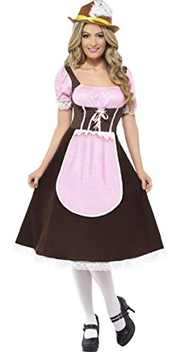 Serving Wench Kostüm - Ladies Longer Length Tavern Girl Brown Oktoberfest Serving Wench Hen Do International Beer Festival Fancy Dress Costume Outfit UK 8-22 Plus Size (UK 8-10)