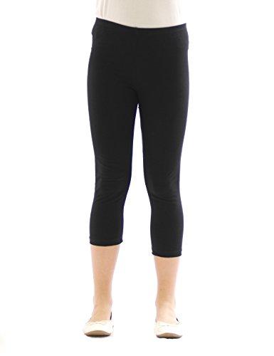 Kinder Mädchen Hose Leggings Leggins Capri 3/4 kurz Knie blickdicht Baumwolle Schwarz Größe 146