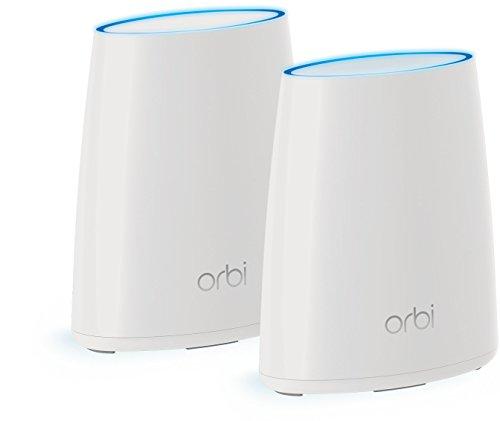 Netgear Orbi RBK40-100PES AC2200 Tri-band Mesh WLAN System (funktioniert mit Alexa, Daisy Chain, MU-MIMO, Single SSID, QoS, bis zu 250 m2 Raumabdeckung, Gäste Netzwerk und 7x Gigabit Ports) weiß matt