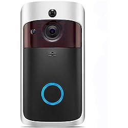 Wifi Timbre video, UKXHY 720P HD Cámara de seguridad de la puerta,Timbre Inalámbrico para Puerta,detección de movimiento, IR Night Vision, audio bidireccional y control de aplicaciones para iOS y Android