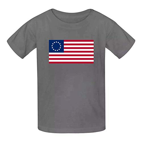 Kinder Jugendliche Kurzarm T-Shirt, America Flag Betsy Ross Kids Cotton T-Shirts Short Sleeve Tees for Youth/Boys/Girls -