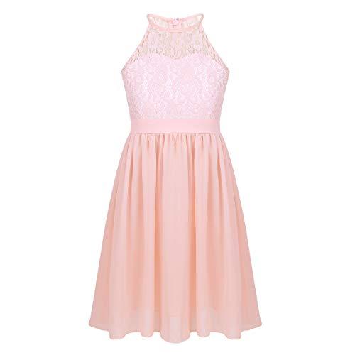 iEFiEL Sweet Mädchen Prinzessin Kleid Spitzen Blumenmädchenkleider für Hochzeits Brautjungfern Festzug Partei Festliches Kleid Gr. 104-164 Rosa 164