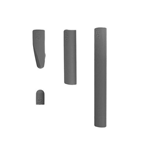 MagiDeal Silikon Schutzhülle Schutzkappen , Schreibfeder Halterung + Kappe Halter + 2 Stift Halter für Apple Pencil / Pen - Grau (Grau Gummi-griff)