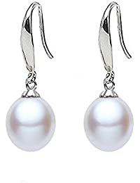 0a5a4c9c5 findout ladies sterling silver natural freshwater pearls 8-10mm water drop  earrings,…
