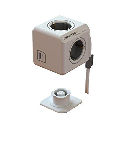Allocacoc 16895 PowerCube Extended - Ladrón en forma de cubo (4 enchufes, 230 V, USB), color gris
