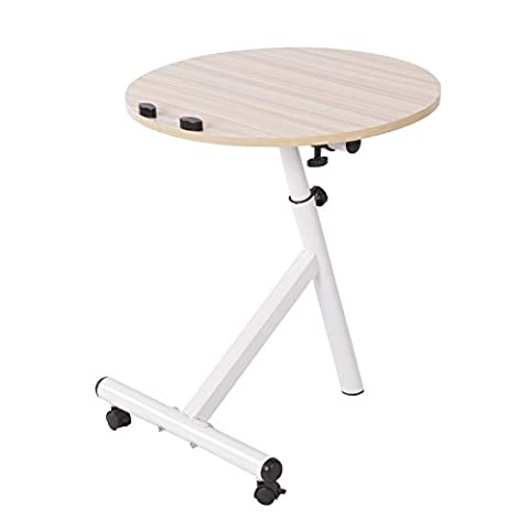 Emall Life Functional Laptop Desk Notebook Table Adjustable Over Sofa Bed Stand Holder with Wheels, 3 Colors (White Maple)