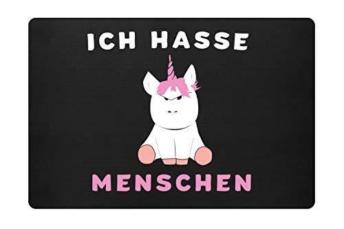 """Generic Hochwertige Einhorn Fußmatte - \""""Ich hasse Menschen\"""" Fußabtreter, Größe 60 x 40cm, Türmatte Inndoor & Outdoor, Fußmatte Lustig, Schmutzabstreifer, Schmutzfangmatte"""