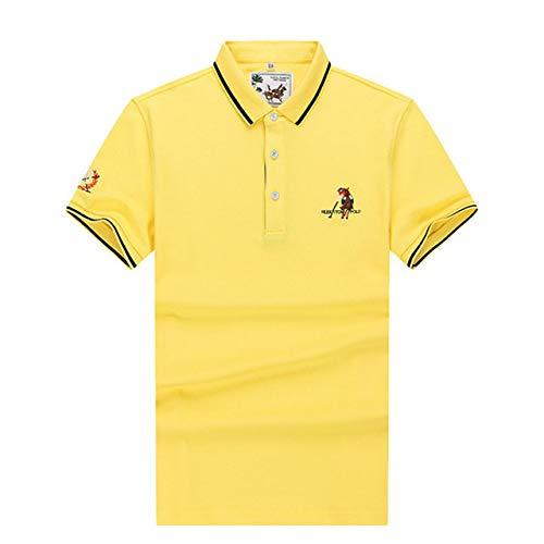 OLLOLCCY Herrenbekleidung Kurzarm Plain Polo Shirt Bruststickerei Fashion Top Plus Size M-3XL,Yellow,M - Polo Ralph Lauren Tennis