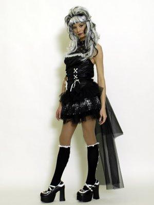 Unbekannt Verruchte Gothic Lady Burlesque Damen-Kostüm schwarz-Weiss M / - Verruchte Hexe Kostüm