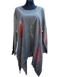 56d6a06f0a06 Labass Damen Tunika Shirt Cotton Lagenlook Langarm Übergröße A-Stil Gr. ...