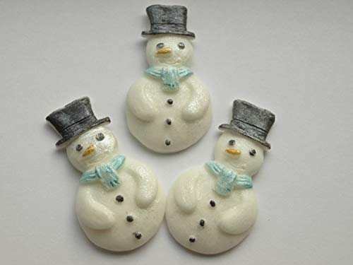 Essbare Schneemänner Schneeflocken Cupcake-Topper, essbare Dekoration, Winter-Party-Dekoration, Geburtstagsparty weiß/blau