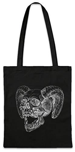 Urban Backwoods Horned Skull Hipster Bag Beutel Stofftasche Einkaufstasche - Dämon-schädel-tattoo