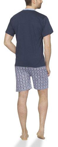 Moonline - Herren Shorty Schlafanzug kurz Pyjama mit karierter Hose aus 100% Baumwolle navy/hell blau/bordeaux