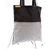 Shopper aus Baumwolle in SCHWARZ mit einer Reißverschluss-Außentasche aus Jeans (Baumwolle) in SCHWARZ & WEISS gestreift.