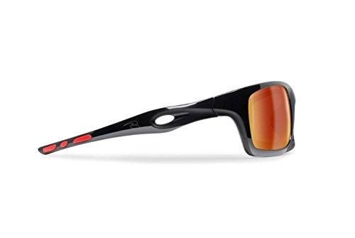 Bertoni occhiali sportivi fotocromatici antivento avvolgenti running sci moto golf ciclismo pesca nautica tempo libero- mod. omega italy occhiali sport (nero lucido/rosso - oro specchio)