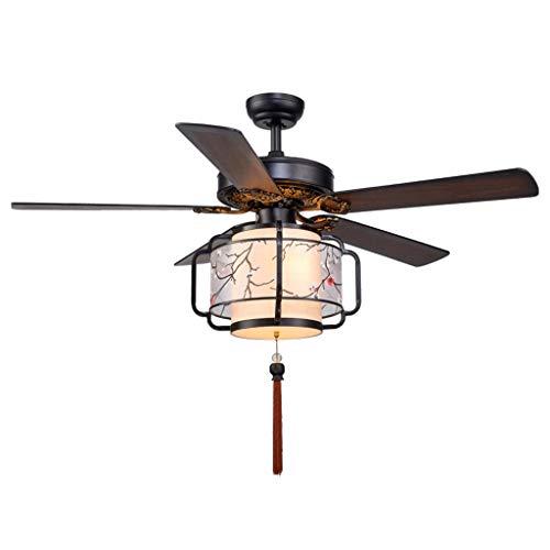 Haushalt Deckenventilator Chinesische Deckenventilator Licht Holz Laterne 5 Blatt Ventilator Kronleuchter Wohnzimmer Stoff Fan Licht Deckenventilator ( Color : Plum blossom cover , Größe : 52 inches ) -