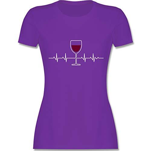 Symbole - Herzschlag Rotwein - S - Lila - L191 - Damen T-Shirt Rundhals