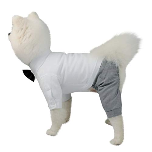 Hochzeitsanzug Haustier Pet Outwear T-Shirt Welpen Jumpsuit Freizeithemd Coat Puppy Komfortabel Kostüme Hund Katze Gentleman Smoking Anzug mit Fliege für Hochzeit Party (White, XL)