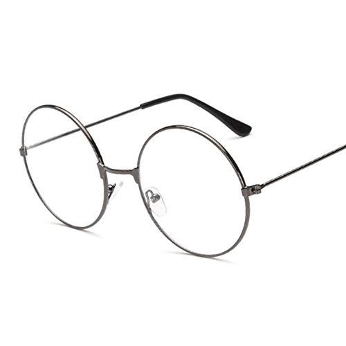 HUOYAN Vintage Retro Metallrahmen Klare Linse Gläser Nerd Eyewear Brillen Schwarz Übergroßen Runden Kreis Brillen (Lenses Color : Gun)