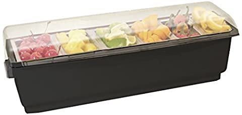 Co-Rect Roll Top Condiment Holder with Six 1-Quart Inserts, Black
