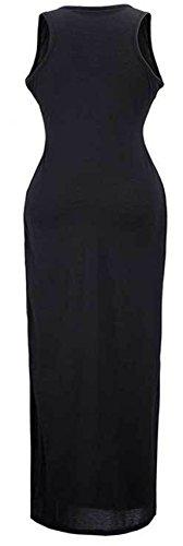 U-shot da donna senza maniche elasticizzato Casual da spiaggia matita Wiggle lunga abito da Black