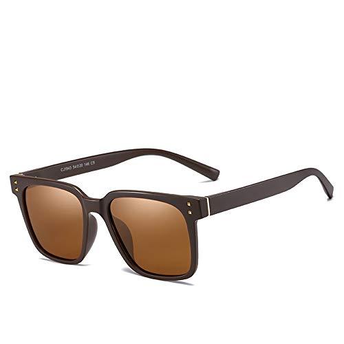 Yiph-Sunglass Sonnenbrillen Mode Mens Polarisierte Geistige Rahmen Stilvolle Sonnenbrille Platz UV400 Schutz Vintage Sonnenbrille Für Männer Multi Farben 9077 (Farbe : Braun)