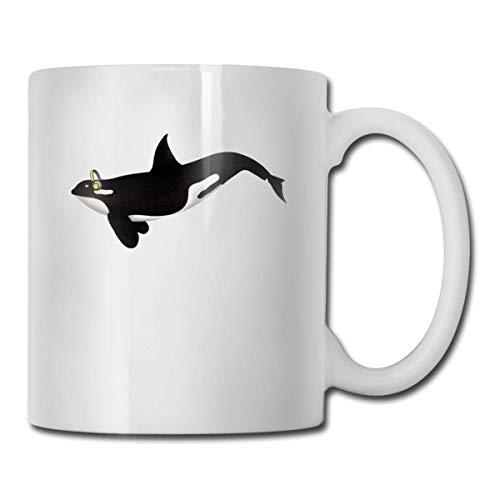 Daawqee Becher Coffee Mug 11oz Funny Cup Milk Juice Or Tea Cup Whale with Headphones Birthday Nissan Thermos Mug