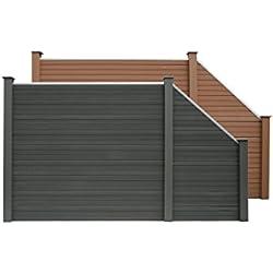 HOME DELUXE WPC Sichtschutzzaun V2 inkl. Pfostenträgern | verschiedene Farben und Längen mit Schrägelementen | Grau,3 x Element + 4 x Pfosten