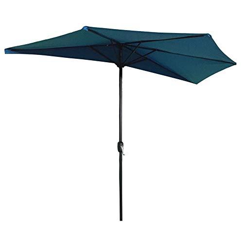 AUFUN Halbrund-Sonnenschirm mit kurbel 300cm UV Schutz 40+ - Blau Alu Balkon Terrassenschirm Marktschirm Gartenschirm (Blau)