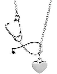 365a763f684e Amosfun Doctor Enfermera Estetoscopio Corazón Collar Pareja Charm Collar  Joyas Regalos de San Valentín (Plata