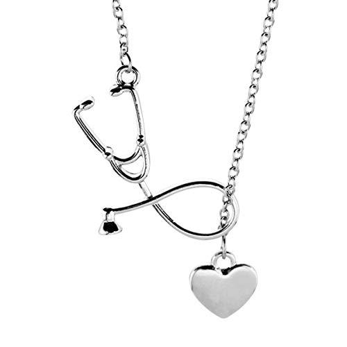 Amosfun Halskette mit Stethoskop-Herz-Anhänger, für Paare, mit Anhänger, Schmuck (Silber)