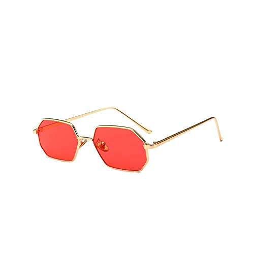 Sportbrillen, Angeln Golfbrille,Vintage Small Octagon Sunglasses Women NEW Ladies Fashion Shade Brand Designer Square Metal Frame Sun Glasses Red Yellow Pink Red
