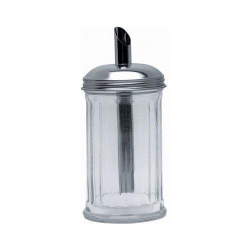 Genware Kc003 Sucre Bec verseur, tube du Couvercle, Acier inoxydable, verre clair Base