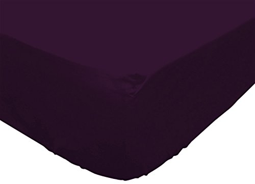 Soleil d'Ocre 613218 Atmo Drap Housse Uni Poly Coton Violet 190 x 140 cm